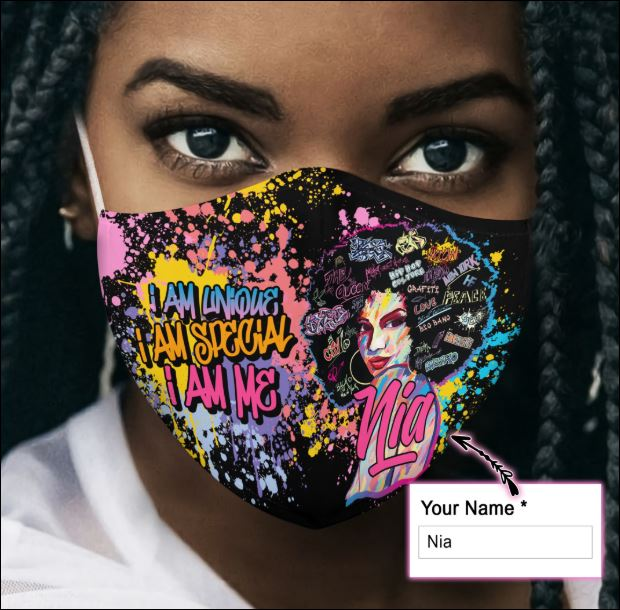 Personalized Black queen i am unique i am special i am me face mask