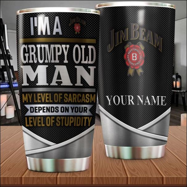 Personalized Jim Beam im a grumpy old man my level of sarcasm depends on your level of stupidity tumbler