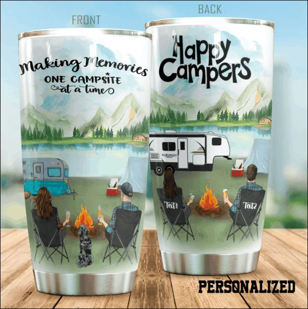Personalized happy campers making memories one campsite at a time tumbler