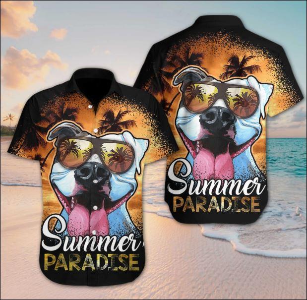 Pitbull summer paradise hawaiian shirt