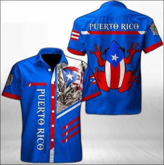 Puerto Rico frog hawaiian shirt