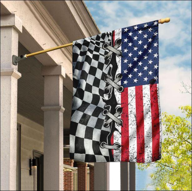 Racing and American flag