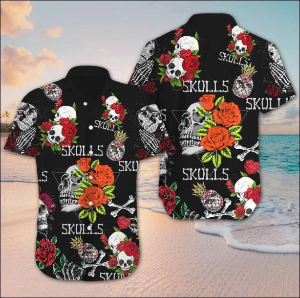 Skull rose hawaiian shirt