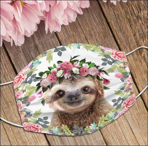 Sloth and flower face mask