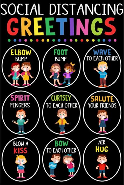 Social distancing greetings poster
