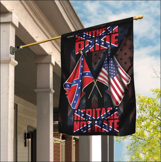 Southern Pride Heritage Not Hate Confederate and American flag
