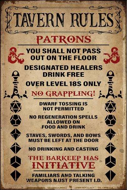 Tavern rules patrons poster