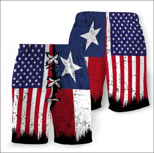 Texas and American flag beach short