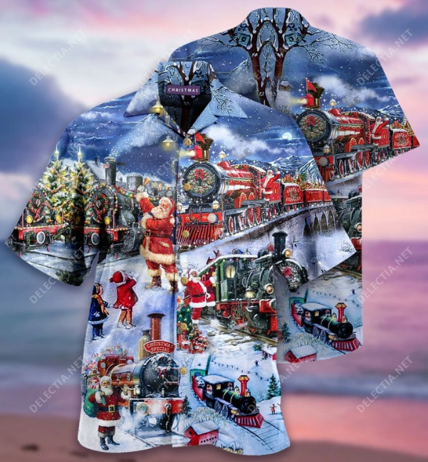 Train to Christmas hawaiian shirt