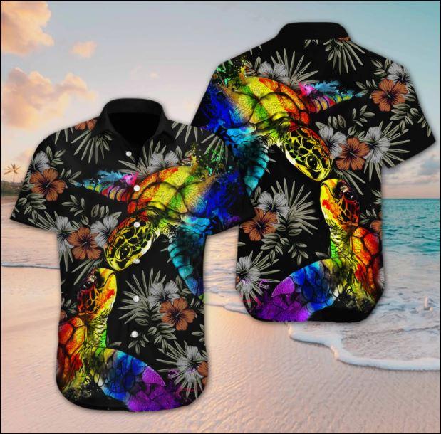 Turtle LGBT flower hawaiian shirt