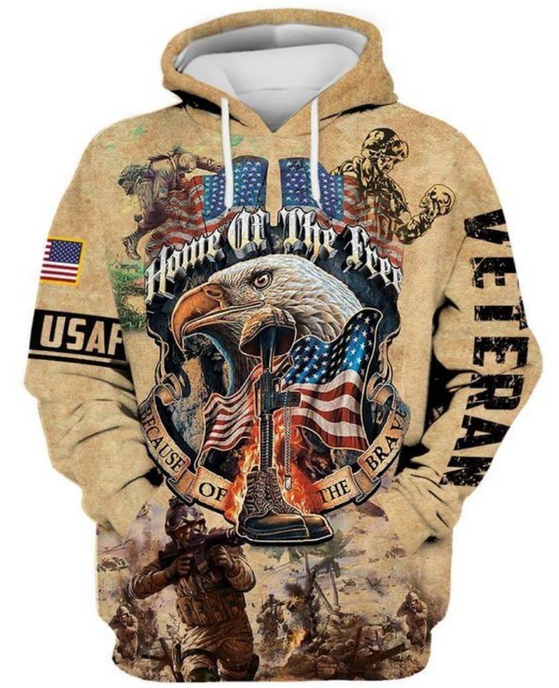 Veteran home of the free because of the brave all over printed 3D hoodie