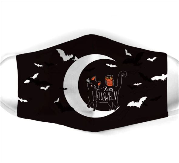 Black cat happy Halloween face mask