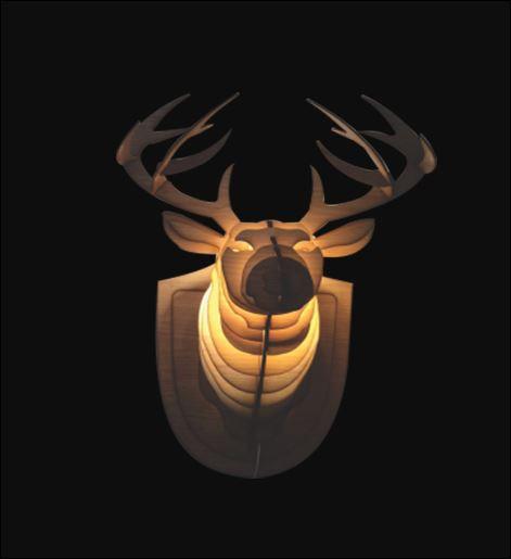 Deer head Wooden Lamp