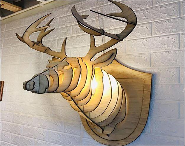Deer head Wooden lamp 1