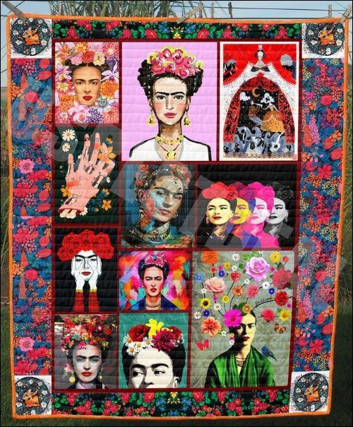 Floral Frida Kahlo quilt 1
