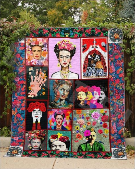 Floral Frida Kahlo quilt
