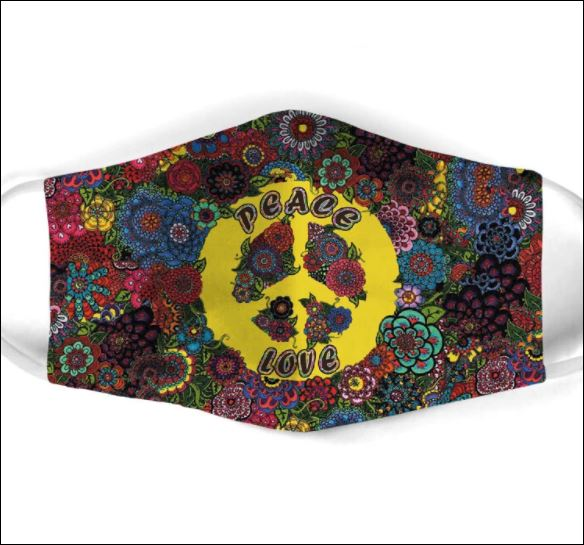 Floral Hippie peace love face mask