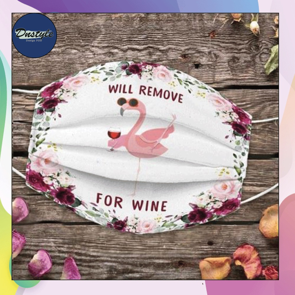 Floral flamingo will remove for wine cloth mask