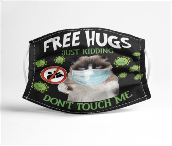 Grumpy cat free hugs just kidding don't touch me coronavirus face mask