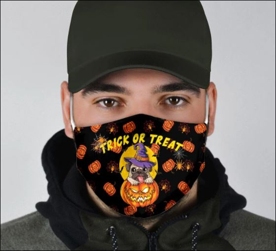 Halloween Pug and pumpkin trick or treat face mask