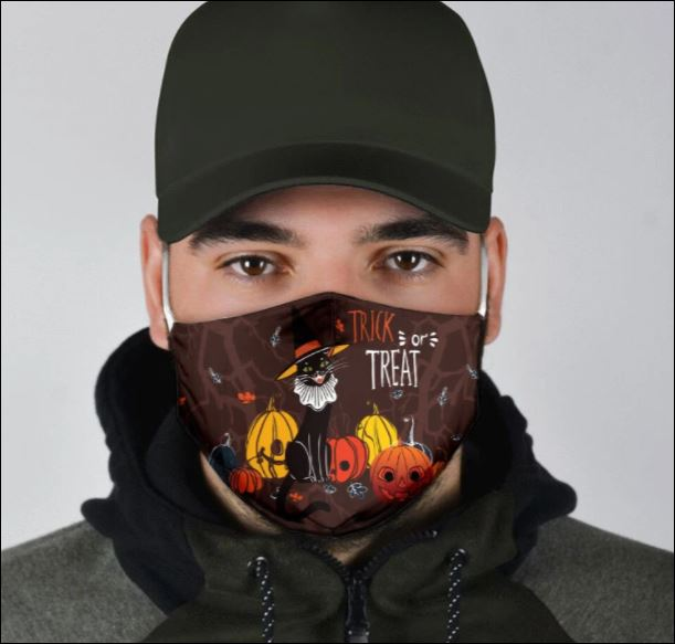 Halloween black cat trick or treat face mask