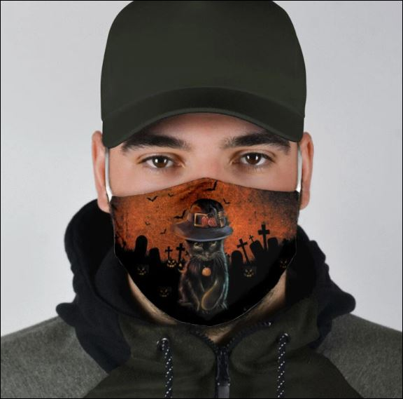 Halloween black cat wear hat face mask