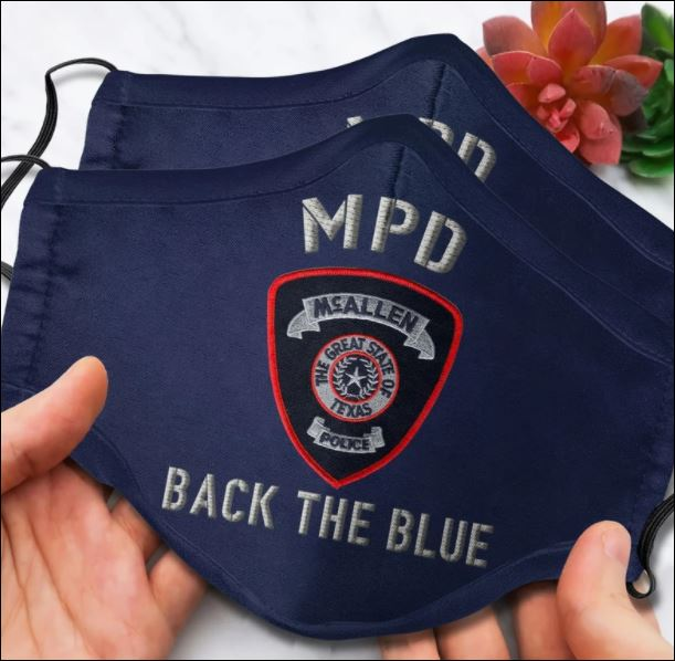 McAllen Police Department back the blue face mask