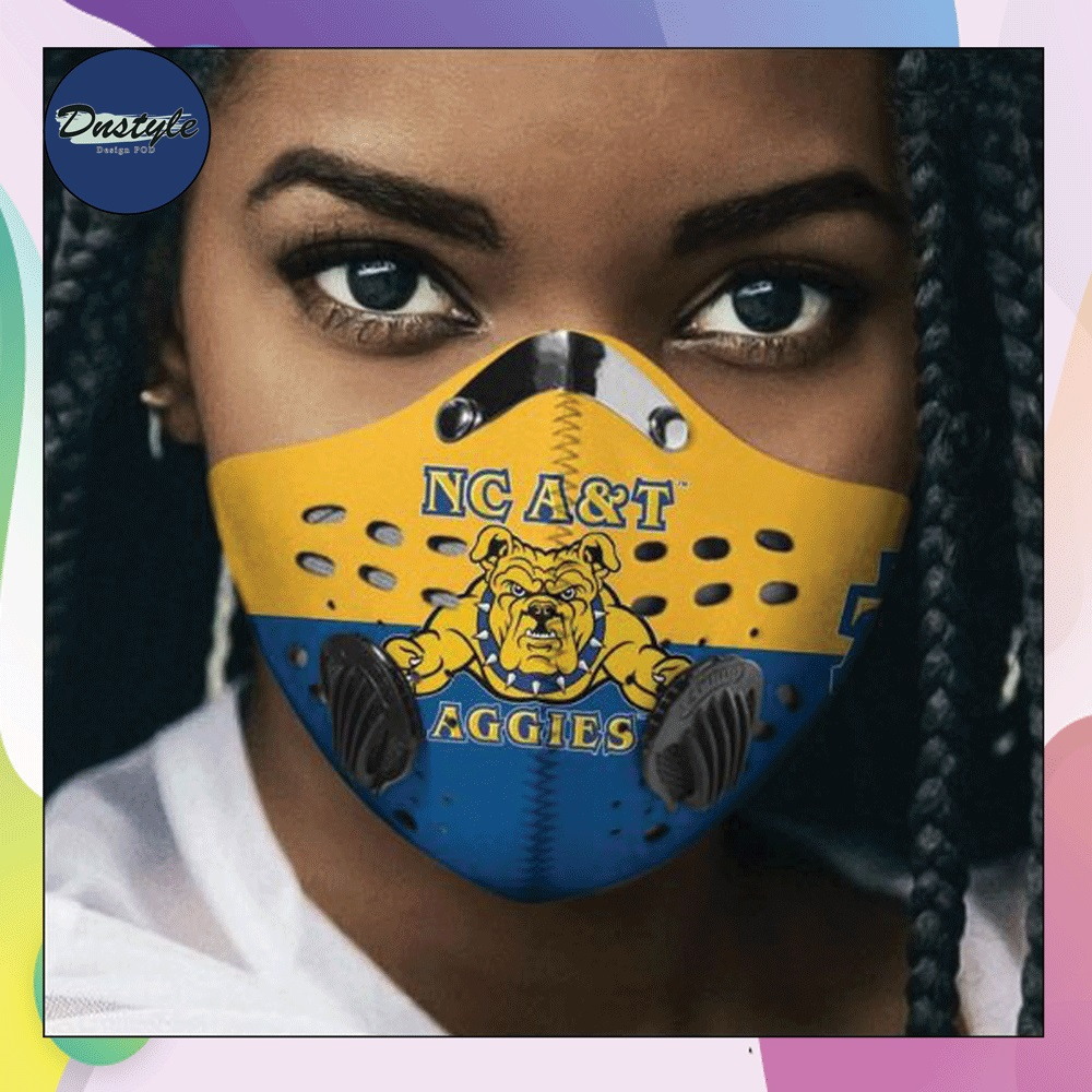 North Carolina A&T Aggies logo face mask with filter