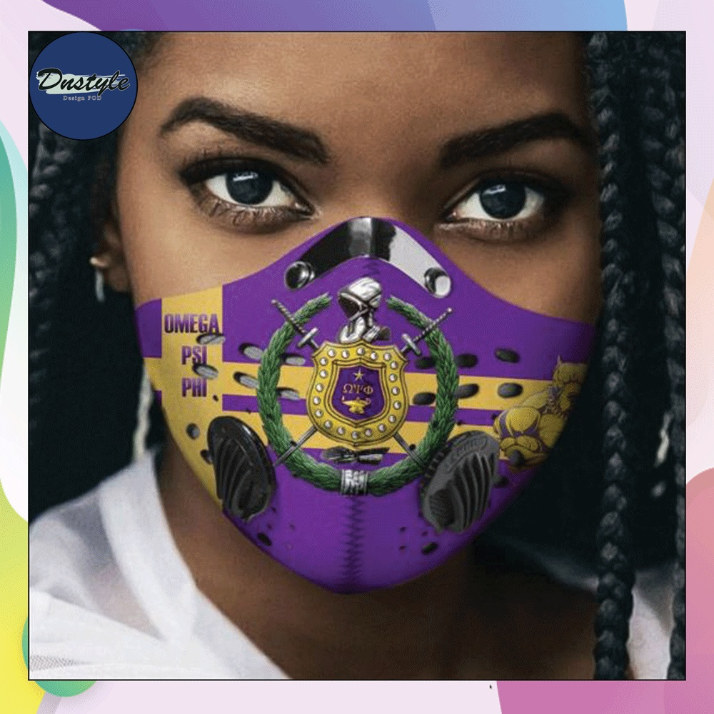 Omega Psi Phi logo face mask with filter