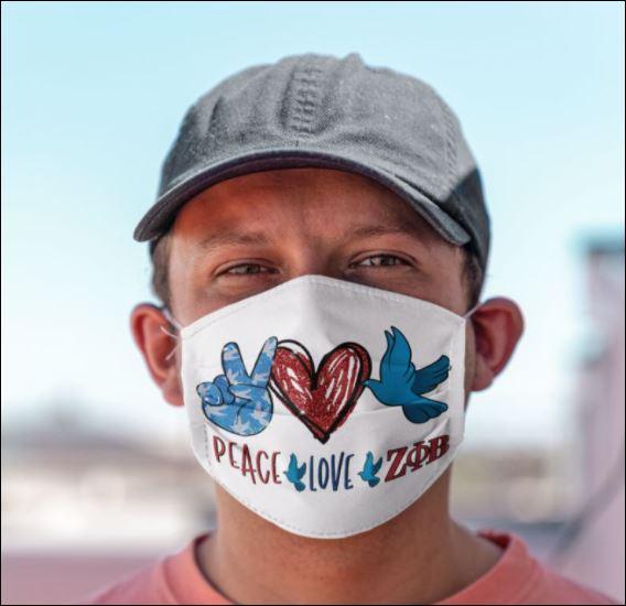 Peace love Zeta Phi Beta face mask