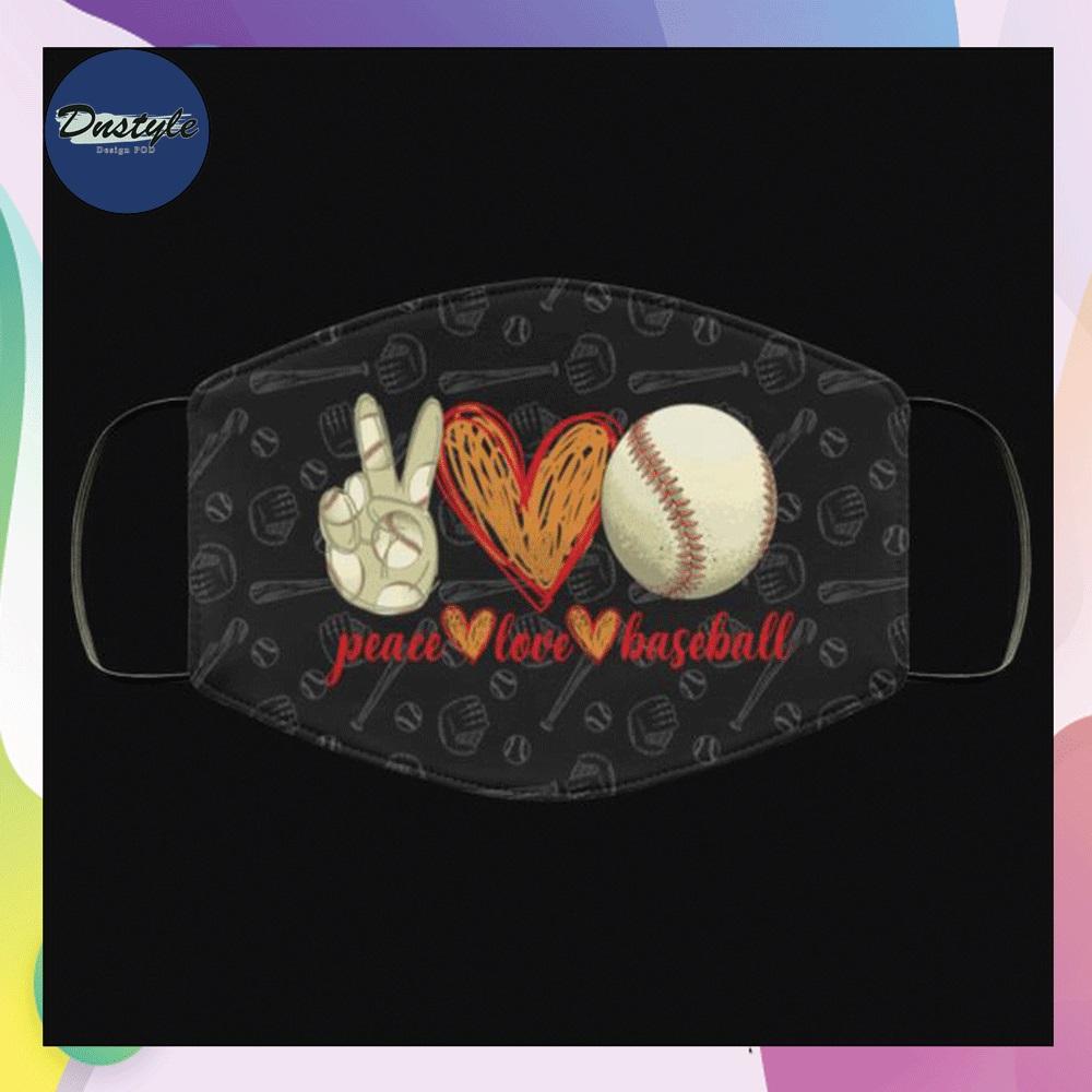 Peace love baseball face mask