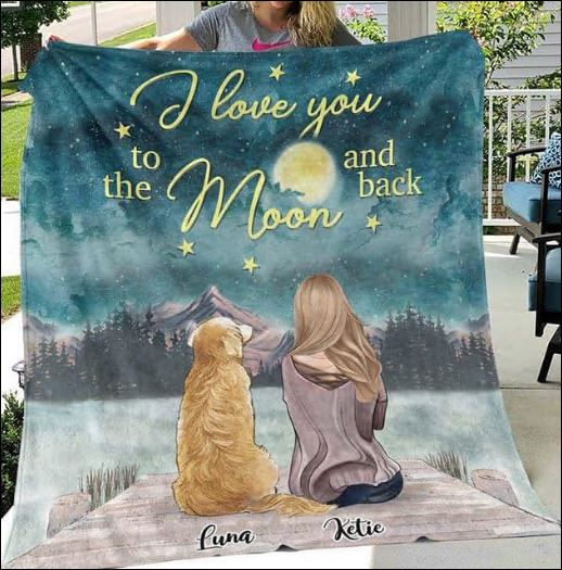 Personalized dog i love you to the moon and back quilt