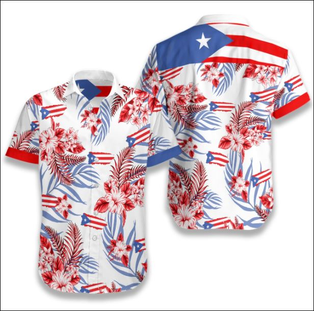 Puerto Rico flag tropical hawaiian shirt