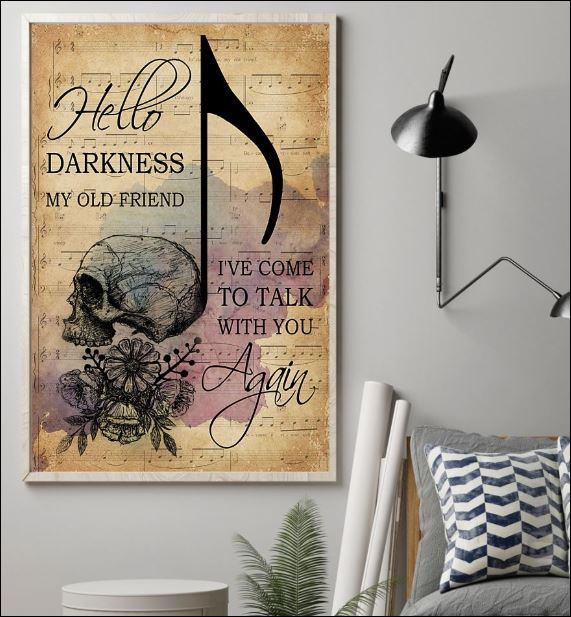 Skull hello darkness my old friend i've come to talk with you again poster 1