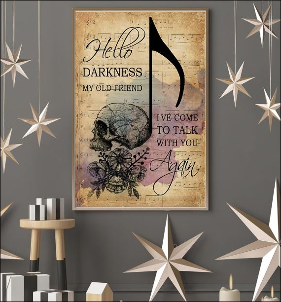 Skull hello darkness my old friend i've come to talk with you again poster 3