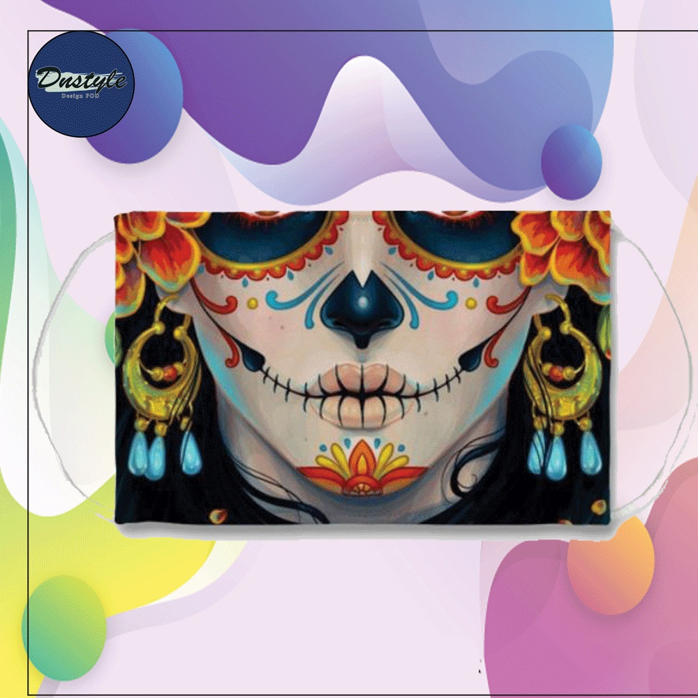 Sugar skull Mexican mouth face mask