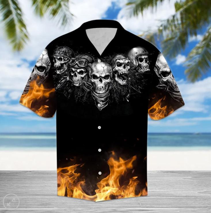Biker skull fire hawaiian shirt