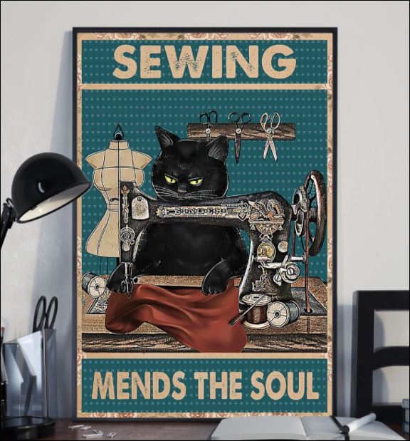 Black cat sewing mends the soul poster 1