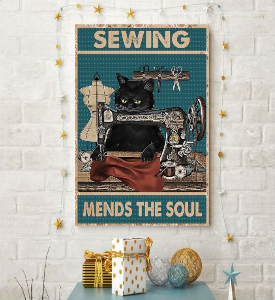 Black cat sewing mends the soul poster 3