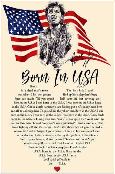 Born in USA lyric poster