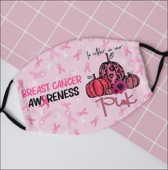 Breast cancer awareness in october we wear pink pumpkin face mask