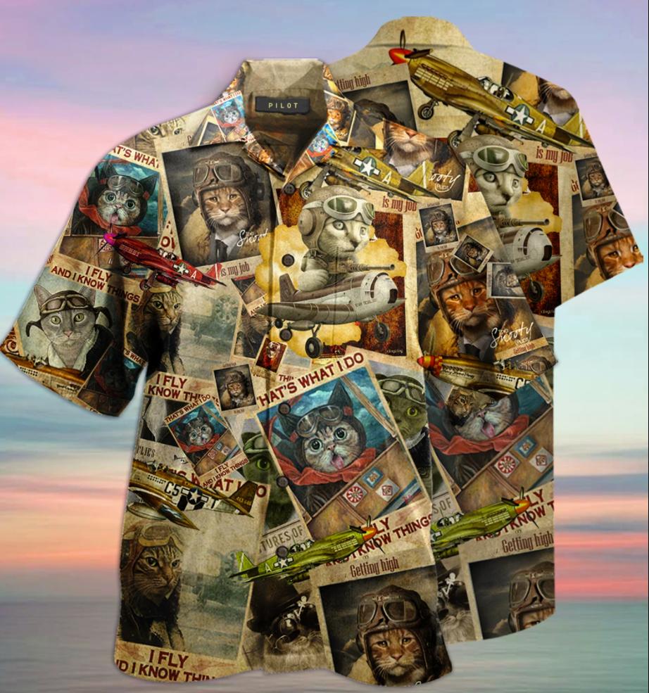 Cats pilot hawaiian shirt
