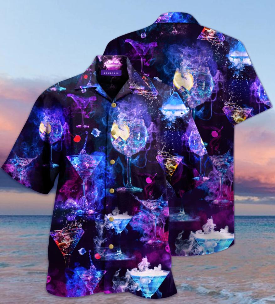 Cocktail glasses hawaiian shirt