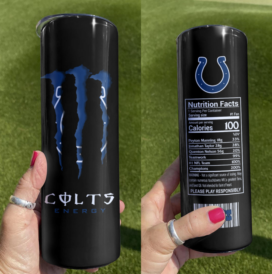 Colts Energy skinny tumbler