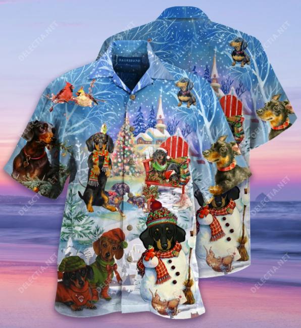 Dachshund Merry Christmas hawaiian shirt