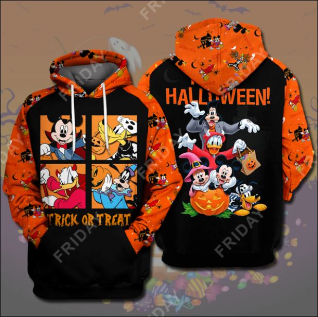 Disney Characters trick or treat happy Halloween 3D all over printed hoodie