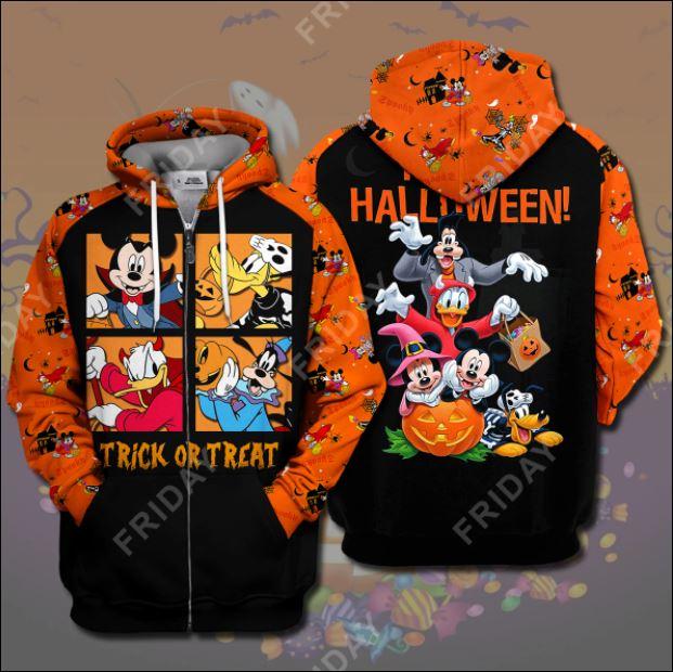 Disney Characters trick or treat happy Halloween 3D all over printed zip hoodie
