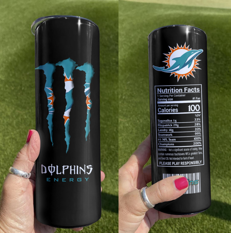 Dolphins Moster Energy Skinny tumbler