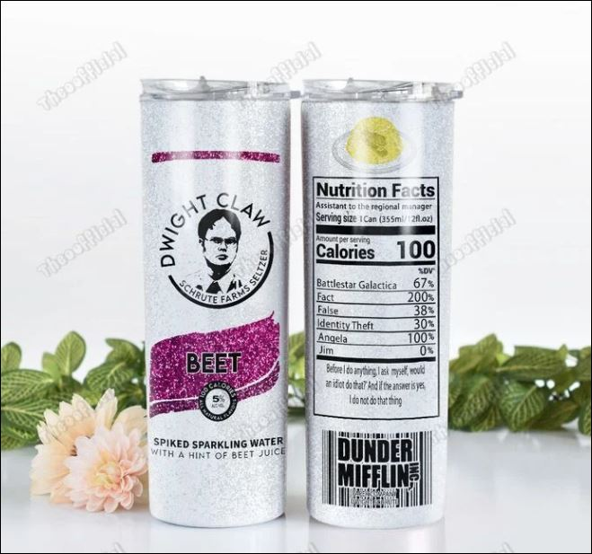 Dwight claw schrute farms seltzer skinny tumbler