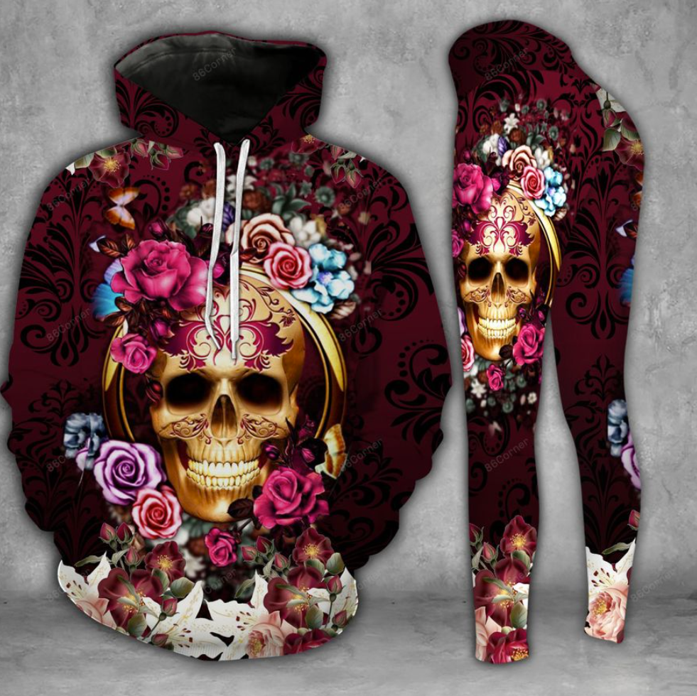 Floral skull 3D hoodie and legging 2